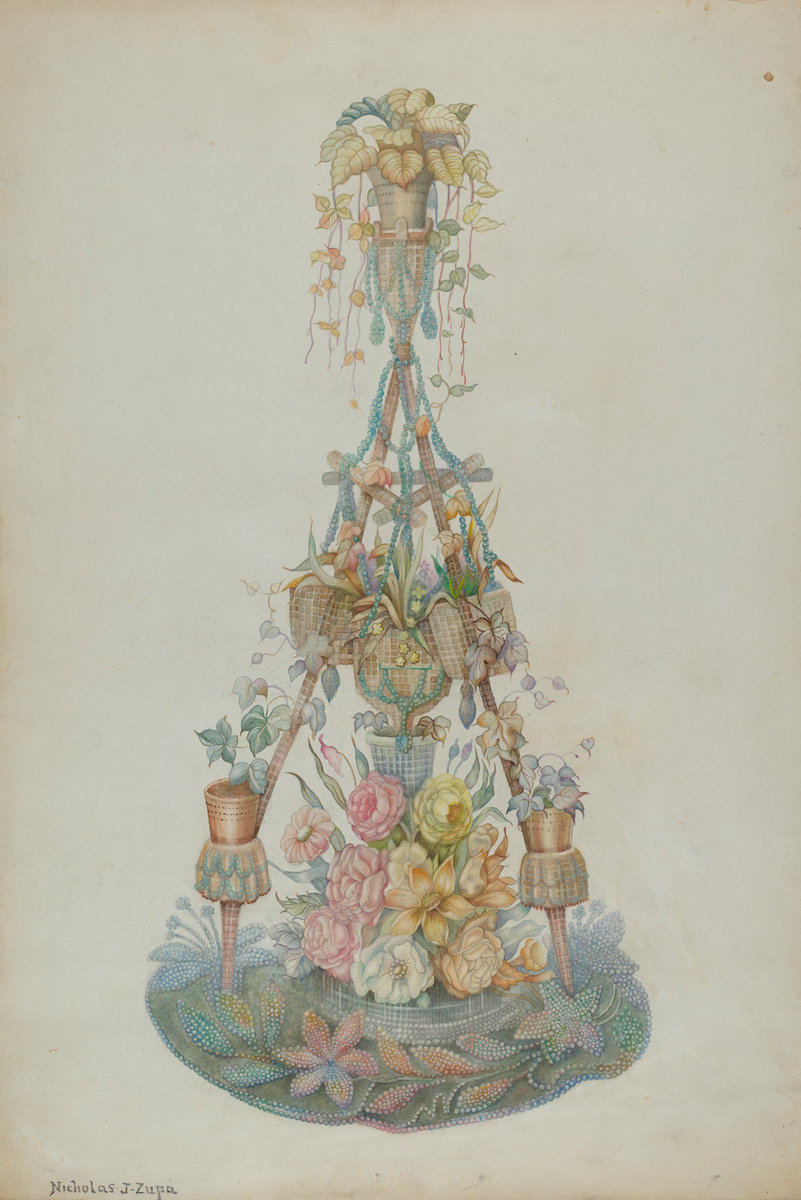 Nicholas Zupa, Parlor Flower Stand, American, active c. 1935, c. 1939, watercolor, colored pencil, and graphite on paperboard, Index of American Design